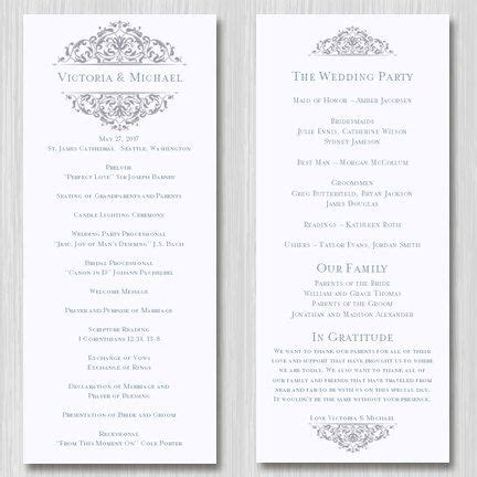 Wedding Ceremony Length by Wedding Ceremony Program Template Tea Length Quot Grace Quot Gray