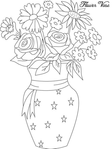 coloring pages of vase with flowers vase and flowers coloring page coloring home