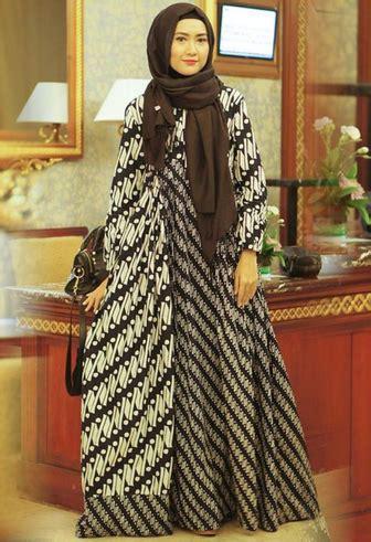 20  Model Gamis Batik Kombinasi Terbaru 2018