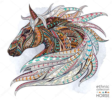 abstract ethnic horse head stock vector 169 maverick