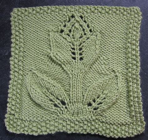 leaf pattern knitted squares ravelry turn over a leaf tulip 9 quot afghan block dishcloth