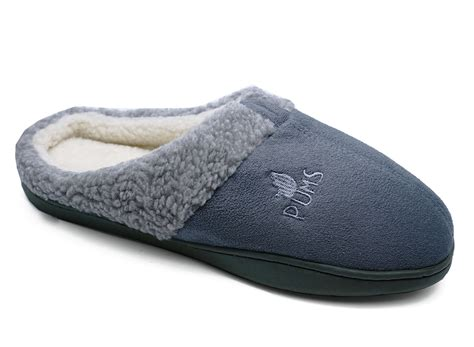 funky slippers mens grey slip on indoor flat warm mule fleece comfy cool