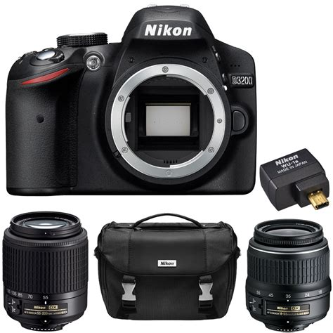 nikon d d3200 24 2mp digital slr black kit w vr 18 55mm and 55 200mm lenses ebay