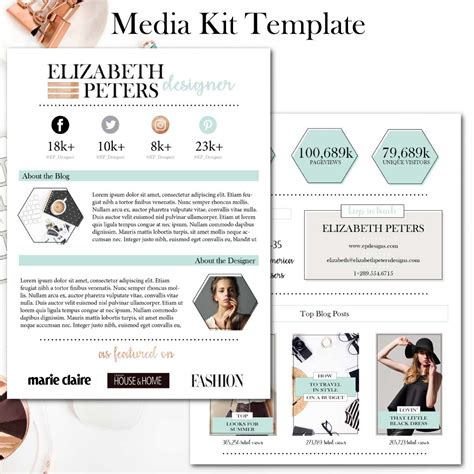 indesign template media kit media kit template black white and copper connected