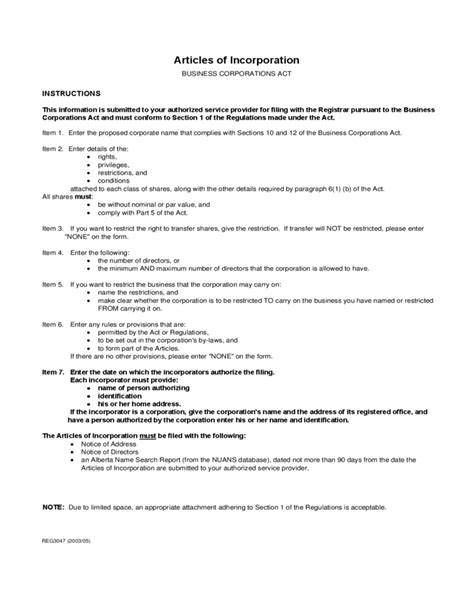 articles of incorporation template articles of incorporation sle template free