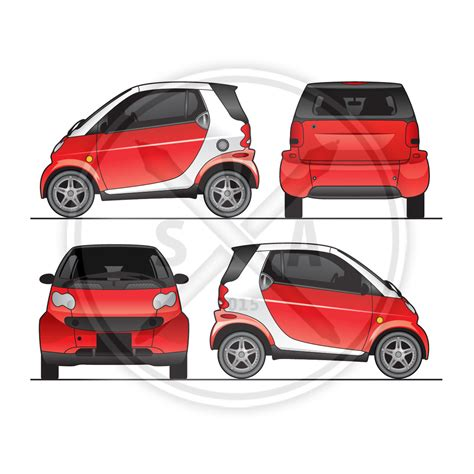 Smart Car Fortwo Graphics Template Stock Vector Art Smart Car Wrap Template