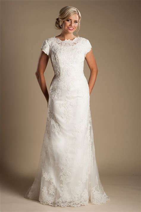 Modest High Neck Full Back Short Sleeve Ivory Lace Wedding