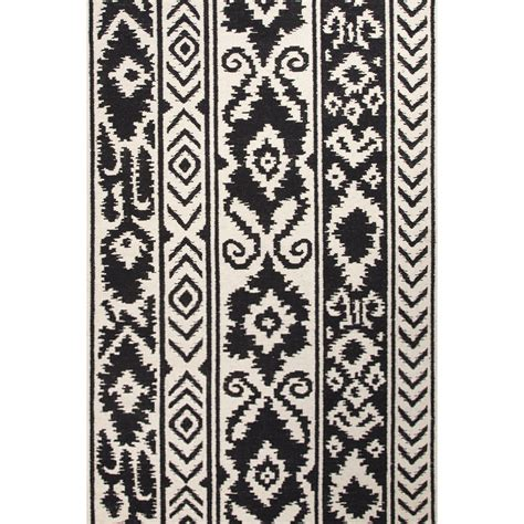 black accent rug flatweave tribal pattern ivory black wool area rug 8x10