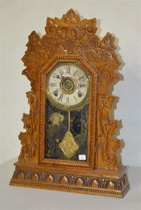 Gilbert Kitchen Clock by Antique Gilbert Oak Kitchen Clock T S With Alarm Signed Pa