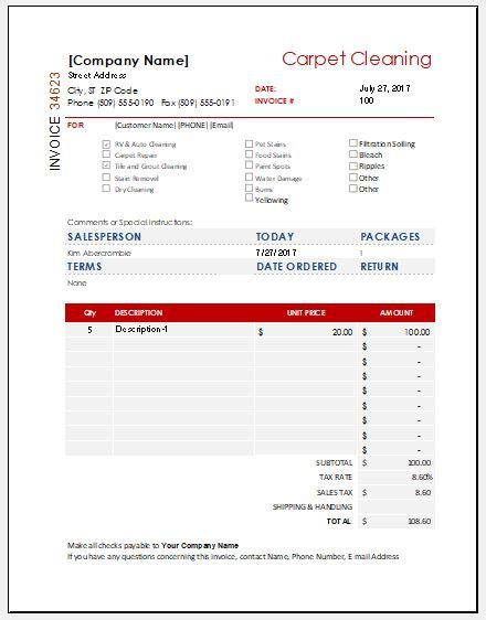 carpet cleaning invoice template carpet cleaning invoice template for ms excel excel