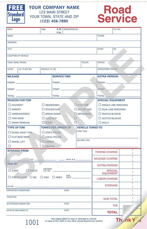towing invoice template towing forms template images