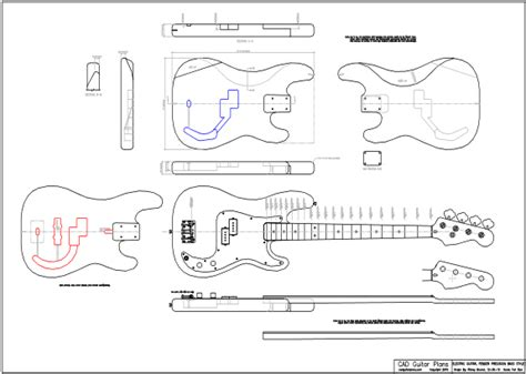 cad precision bass electric guitar plan fender cad