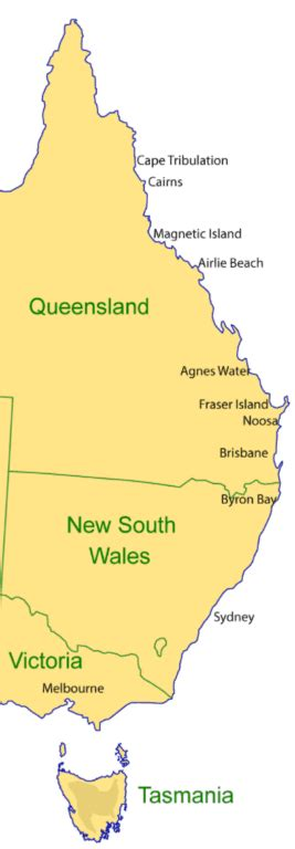 map of eastern australian coast a complete guide travelling the east coast of australia