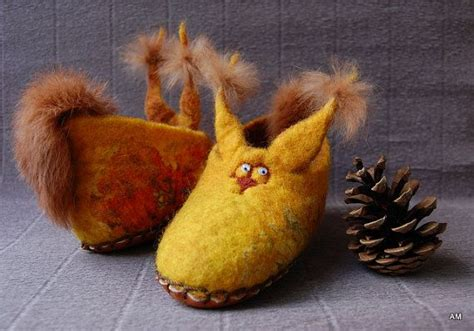 squirrel slippers felted wool slippers for children yellow squirrel gift