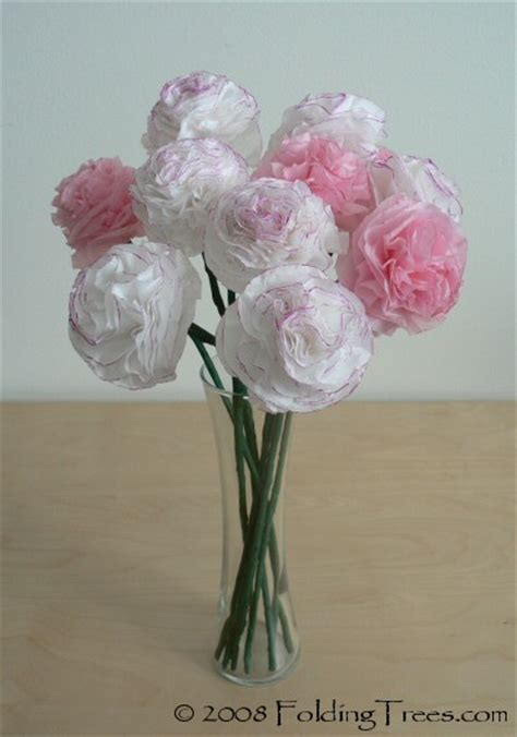 Tissue Paper Roses - 12 gorgeous tissue paper flower tutorials lines across