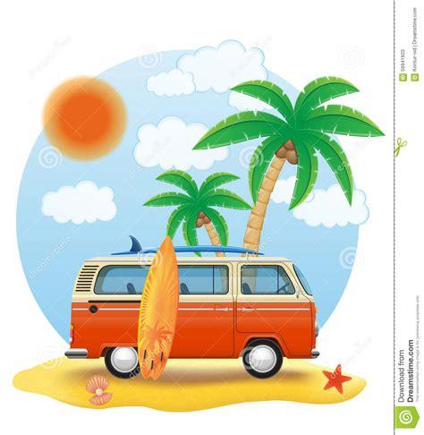 surf car clipart retro minivan with a surfboard on the vector