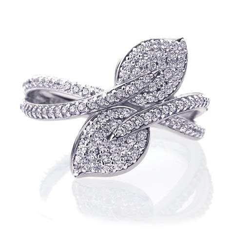 17mm platinum plated sterling silver 0 5ct cz leaf wedding