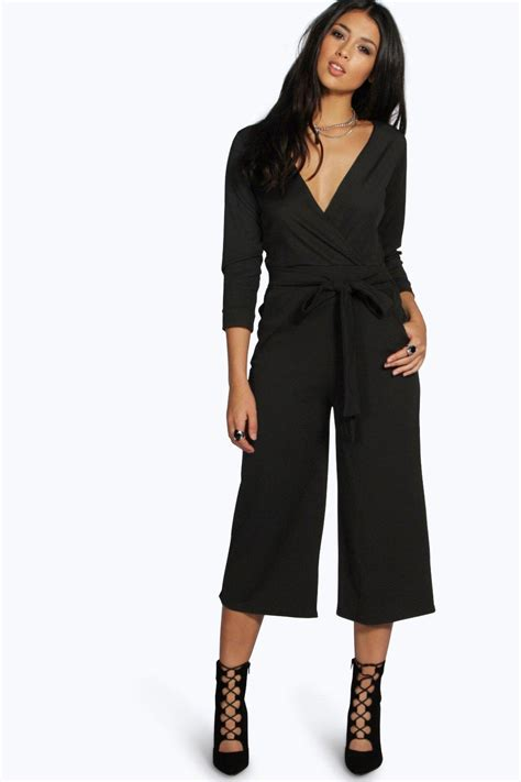 Jumpsuit Cullote Premium boohoo womens roll sleeve relaxed culotte jumpsuit