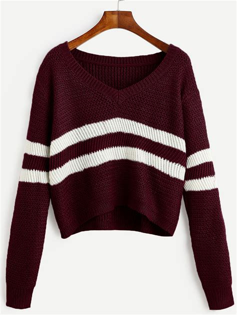 Sweater Coolwoman Maroon burgundy striped v neck crop sweaterfor romwe