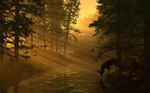 deer landscapes cg digital nature landscapes rivers deer trees