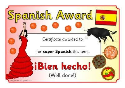 Spanish Award Certificates (SB11599)   SparkleBox
