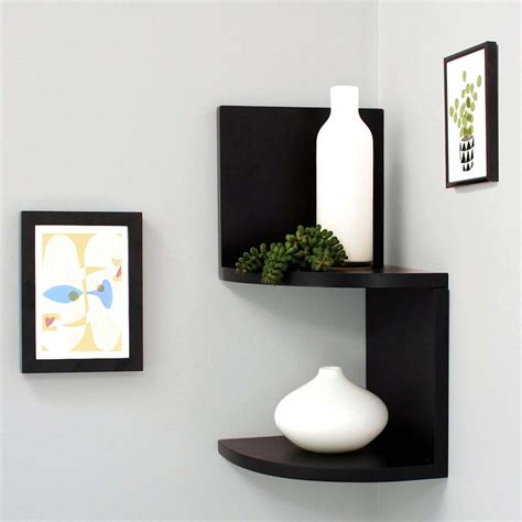 finether 2 tier zig zag floating wall corner shelf unit