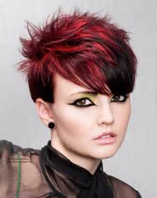 hairstyles for of color spiky haircut with daring hair color contrasts