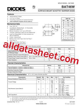 diodes inc bat54 7 f bat46w 7 f 데이터시트 pdf diodes incorporated