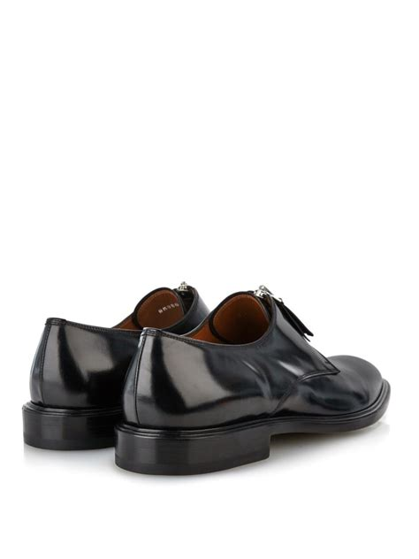 givenchy zip up leather derby shoes in black for lyst