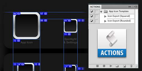 ios app icon photoshop template with actions psd