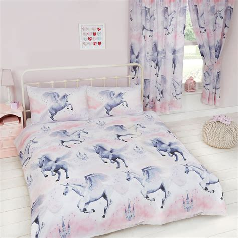 Single Bed Duvet Sets Stardust Unicorn Duvet Cover Sets Matching Curtains Single Junior New Ebay