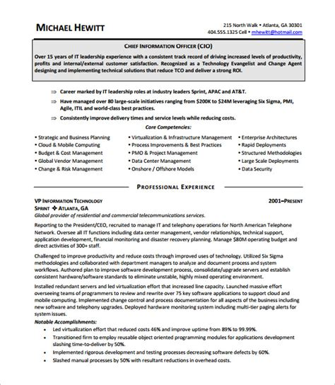 information technology manager resume pdf 28 images