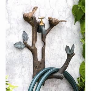 bird branch wall spigot mounted hose holder decorative