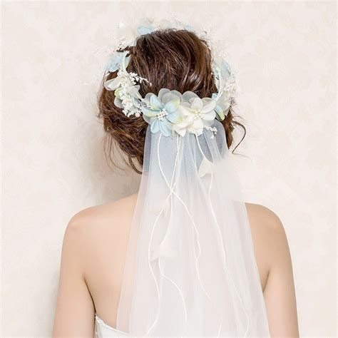 Wedding Hairstyles With Veil And Flower Big by 2017 Newest Flower Crown Veil Flower Headbands Tiaras Veil
