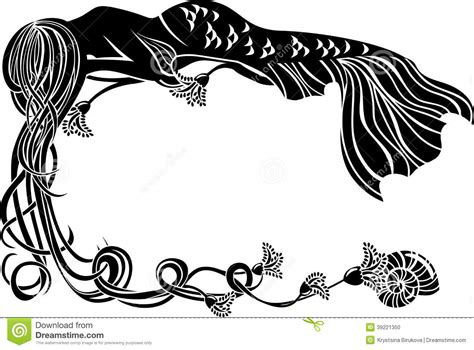 ornate frame sleeping mermaid stock vector image 39221350