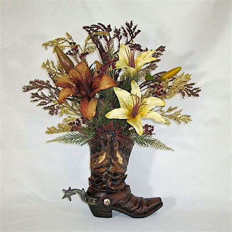 ceramic boot vase ceramic cowboy boot vase with brown and ivory lilies
