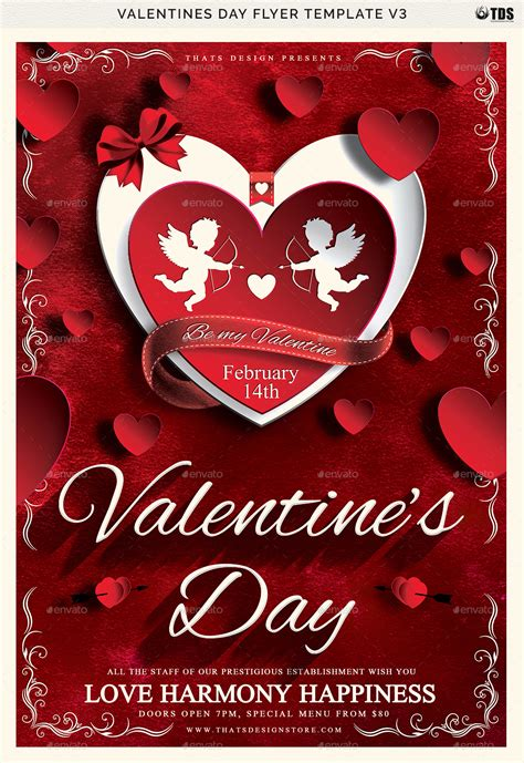 Valentines Day Flyer Template V3 By Lou606 Graphicriver Day Flyer Template Free
