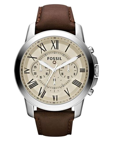 Fossil Grant Chronograph Black Silver Brown Leather Ori Bm fossil q grant chronograph leather smart in silver for brown egg