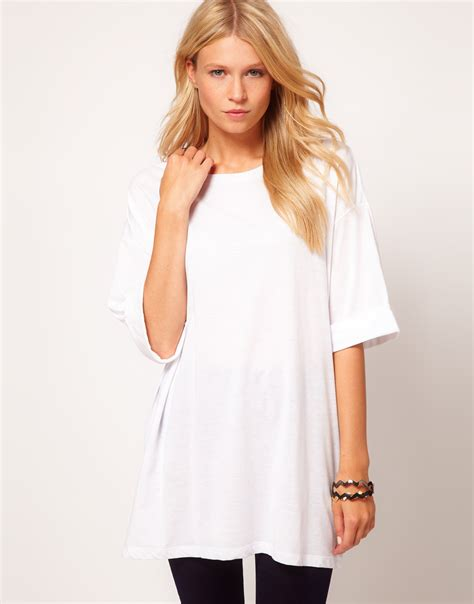 Oversized Tshirt lyst asos oversized t shirt in white