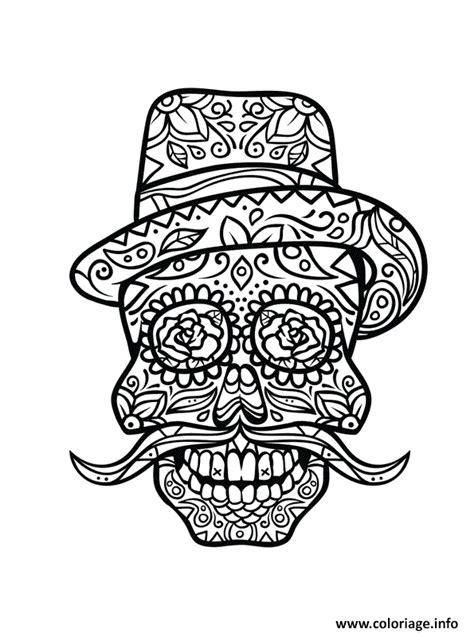 Coloriage Squelette Halloween Moustache Rigolo Dessin