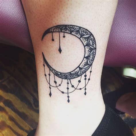 crescent moon tattoo meaning crescent mandala moon done at drop dead in