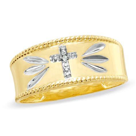 mens diamond accent cross wedding band   gold