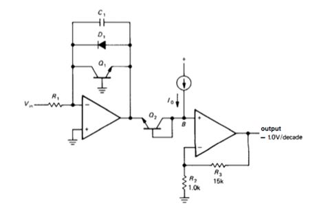 transistor logarithmic lifier op working of transistor in an op log lifier electrical engineering stack exchange