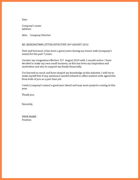 6 1 month notice resignation letter sle basic job
