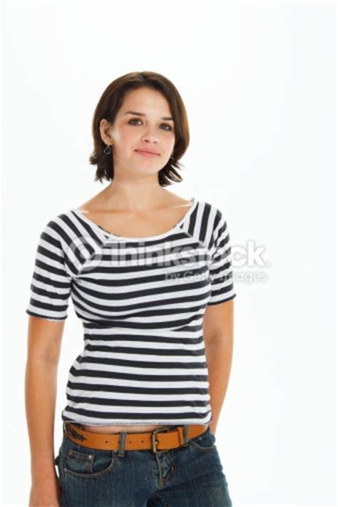 Tshirt Photography Desain Photography 16 wearing striped tshirt and denim portrait stock photo thinkstock