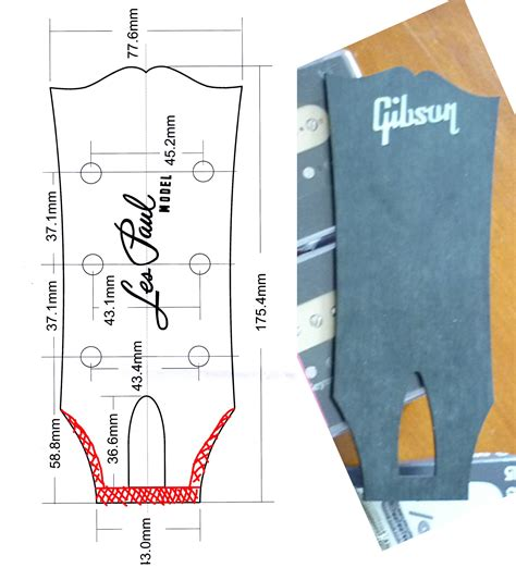 gibson les paul headstock template headstock dimensions pictures to pin on pinsdaddy