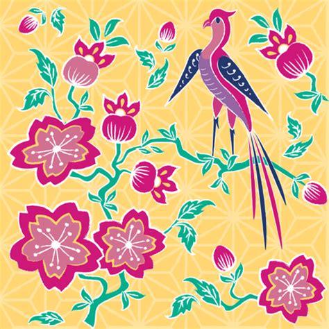 simple batik design flower sakura floral batik fabric floating lemons spoonflower
