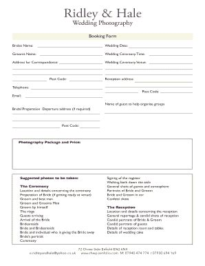 Event Photography Contract Pdf Forms And Templates Fillable Printable Sles For Pdf Word Photography Booking Form Template Free