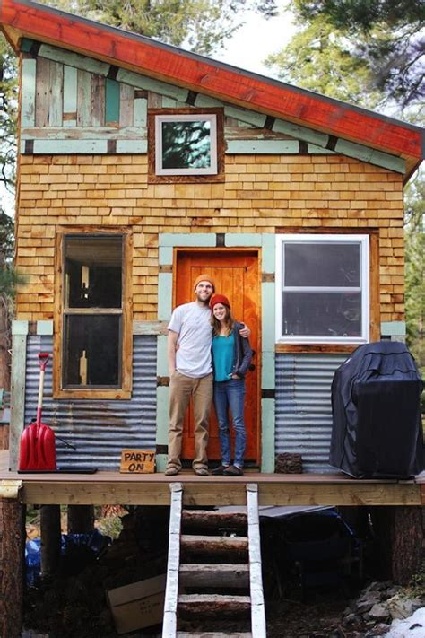newlyweds build tiny home in parents backyard tiny build mortgage free grid micro cabin