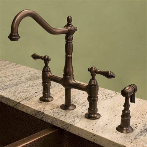 bridge faucets for kitchen bellevue bridge kitchen faucet with brass sprayer lever